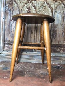 Antique-Primitive-Wooden-Four-Legged-Milking-Childs-Foot-Stool-Chair-Farmh