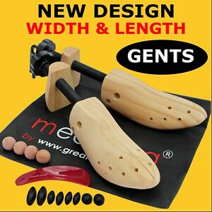 2-x-MENS-SHOE-STRETCHERs-New-Wooden-2-Way-Shoes-Width