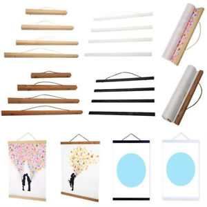 Magnetic-Wooden-Photo-Picture-Frame-Wall-DIY-Poster-Scroll-Prints-Artwork-Hanger
