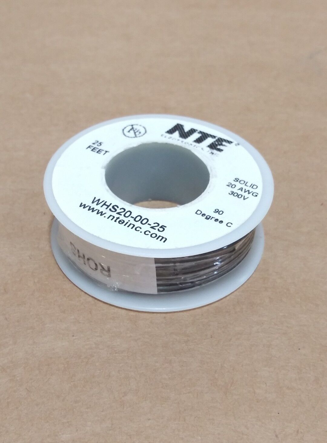 ( 25 FT Spool ) NTE WHS20-00-25 ( 20 AWG ) Solid Hook Up Wire 300V ( Black )