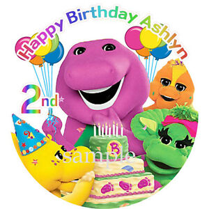 Surprising Barney Edible Icing Image Birthday Cake Topper Decoration Dinosaur Personalised Birthday Cards Cominlily Jamesorg