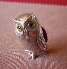 Solid sterling silver OWL PIN CUSHION with glass eyes (burgandy)