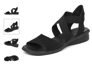 Details zu Arche Satia Schwarz Nubukleder Komfort Flache Sandalen Damen Größe 36 415 10