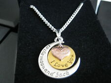 """Love You to the Moon & Back Pendant & Silver Plated 18 """" Necklace with Gift Boxs"""