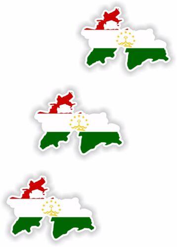 """Tajikistan  3x Small Map flag Stickers Bumper Helmet Phone Fridge Bike 1.2/"""""""