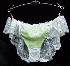 "Princess LACY flutter prissy sissy stretchy Green bikini panties M L 26-40"""