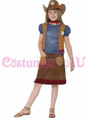 Girls Kids Western Belle Cowgirl Costume Sheriff American Wild West Fancy Dress