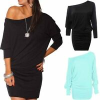 New Fashion Womens Long Sleeve Casual Off Shoulder Mini Batwing Tunic Dress Top