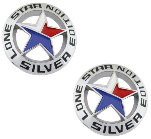 LONE STAR SILVER EDITION Texas Emblem Universal Stick On Truck Badge Ram TWO