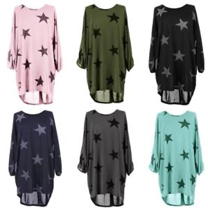 Ladder-Batwing-Stars-Print-Lagenlook-Fine-Knitted-Baggy-Tunic-Top-Plus-Size-8-26