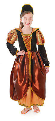 CHILD TUDOR #RENAISSANCE ROYAL QUEEN BRONZE FANCY DRESS COSTUME 3 SIZES BOOK DAY