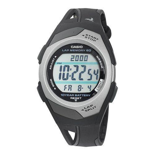 Casio STR300C-1 Ladies 60 Lap Memory Black Grey Running Watc