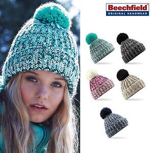 ecca9e8d8d529 Beechfield Twist Knit Pom Pom Beanie - Chunky Knit cuffed warm ...