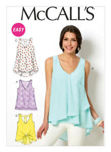 McCall-039-s-Sewing-Pattern-M6960-6960-Misses-16-26-Easy-V-Neck-Tops-Tunic-Shirt