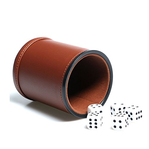 Dice Classic Toy Dice Cup Box High Quality Black PU Leather Dice Cup DD