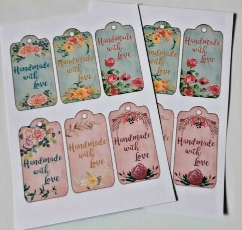12-36 STICKERS SCRAPBOOKING CRAFT EMBELLISHMENTS 80mm GIFT TAG Handmade for You