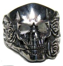 DELUXE CRAWLING UP SKELETON HEAD BIKER RING #BR189 MENS WOMENS jewelry SILVER