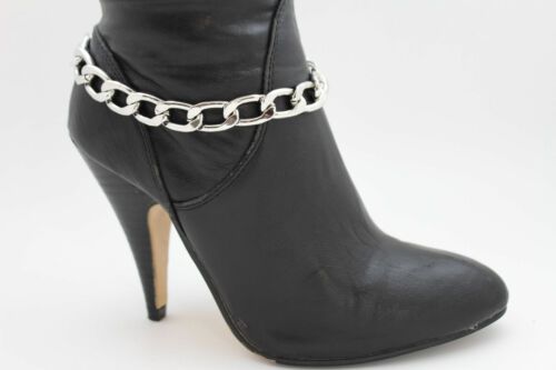 Women Silver Metal Chains Boot Bracelet Anklet Shoe Charm Jewelry Chunky Links