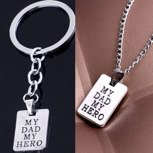My Dad My Hero Necklace Keyring Birthday Gift For Fathers Day Daddy Keychain New