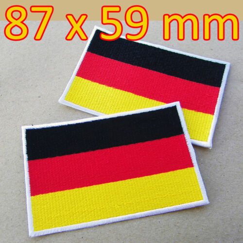 2 x LARGE Patches Germany Flag German Embroidered Iron On Berlin Munich Dortmund