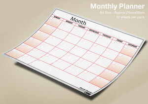 monthly planner wall month planner a4 x 12 sheets any month any