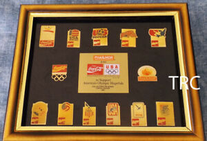 1992-COCA-COLA-PHAR-MOR-LIMITED-EDITION-OLYMPIC-GAMES-PIN-SET-IN-FRAME