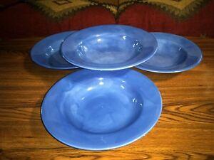 Tabletops-Unlimited-BARCELONA-SKY-Blue-Large-10-034-Rim-SOUP-Salad-BOWL-Set-of-4