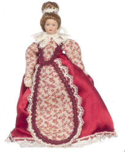 Casa delle Bambole Miniatura Victorian Madre Bambola in Abito Rosso Scala 1.12
