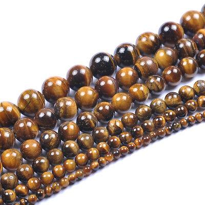 "Natural Tigers Eye Gemstone Round Beads 15.5"" 4MM 6MM 8MM 10MM 12MM 14MM 16MM"