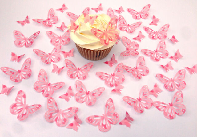 48 Edible Pink Polka Pre Cut Butterflies Wafer Paper Cupcake Toppers 2 designs