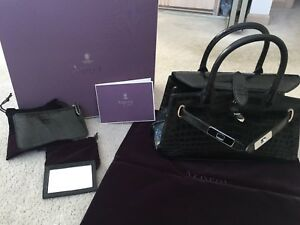 Image Is Loading Asprey 1781 Baby Crocodile Millenium Black Handbag 100