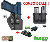 Glock 9mm 31/32 Polymer Holster Ml10224o Two Magazines Pouch W/ Adjustment Screw
