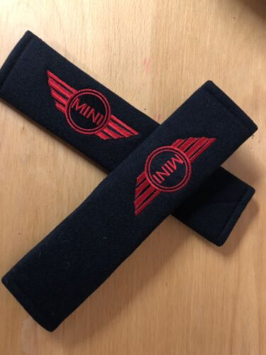 Embroidered Mini  Style Universal  Seat Belt Shoulder Pads Pair Red And Black