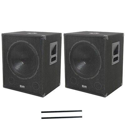 QTX Sound QT15SA Active Powered Subwoofers Subs PAIR & 80cm Steel Speaker Poles