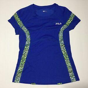 Fila-Womens-Shirt-Athletic-Running-Sport-Short-Sleeve-Top-Blue-Size-M