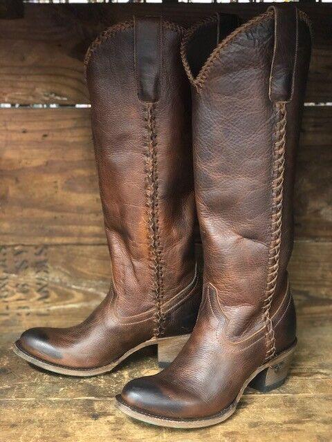 Lane Boots Women's Plain Jane Cognac Tall Round Toe Boot LB0350I