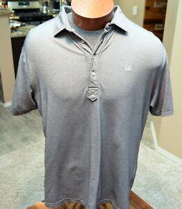 Travis-Mathew-Polo-Shirt-Mens-Gray-L-Large-Short-Sleeve-Golf-Cotton-Poly-Logo