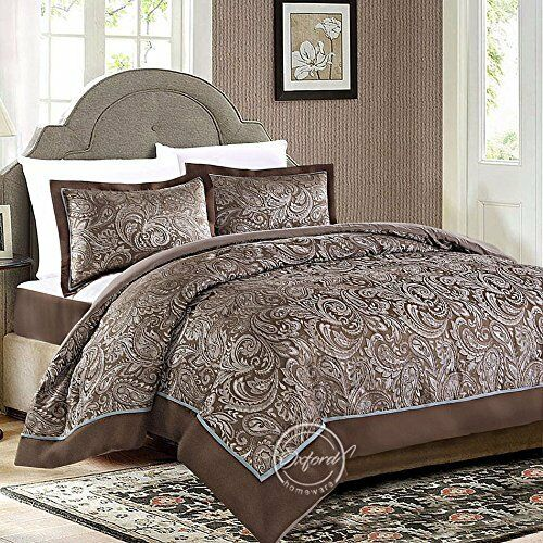 3Pc Quilted Bedspread Set Jacquard Comforter With Set Of Pillow Shams 225x255cm
