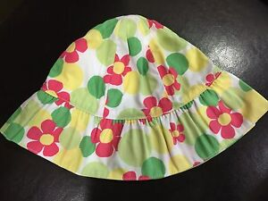 NWT Gymboree Seashore Smiles Baby Girl Turquoise Floral Sun Hat 0-6 M