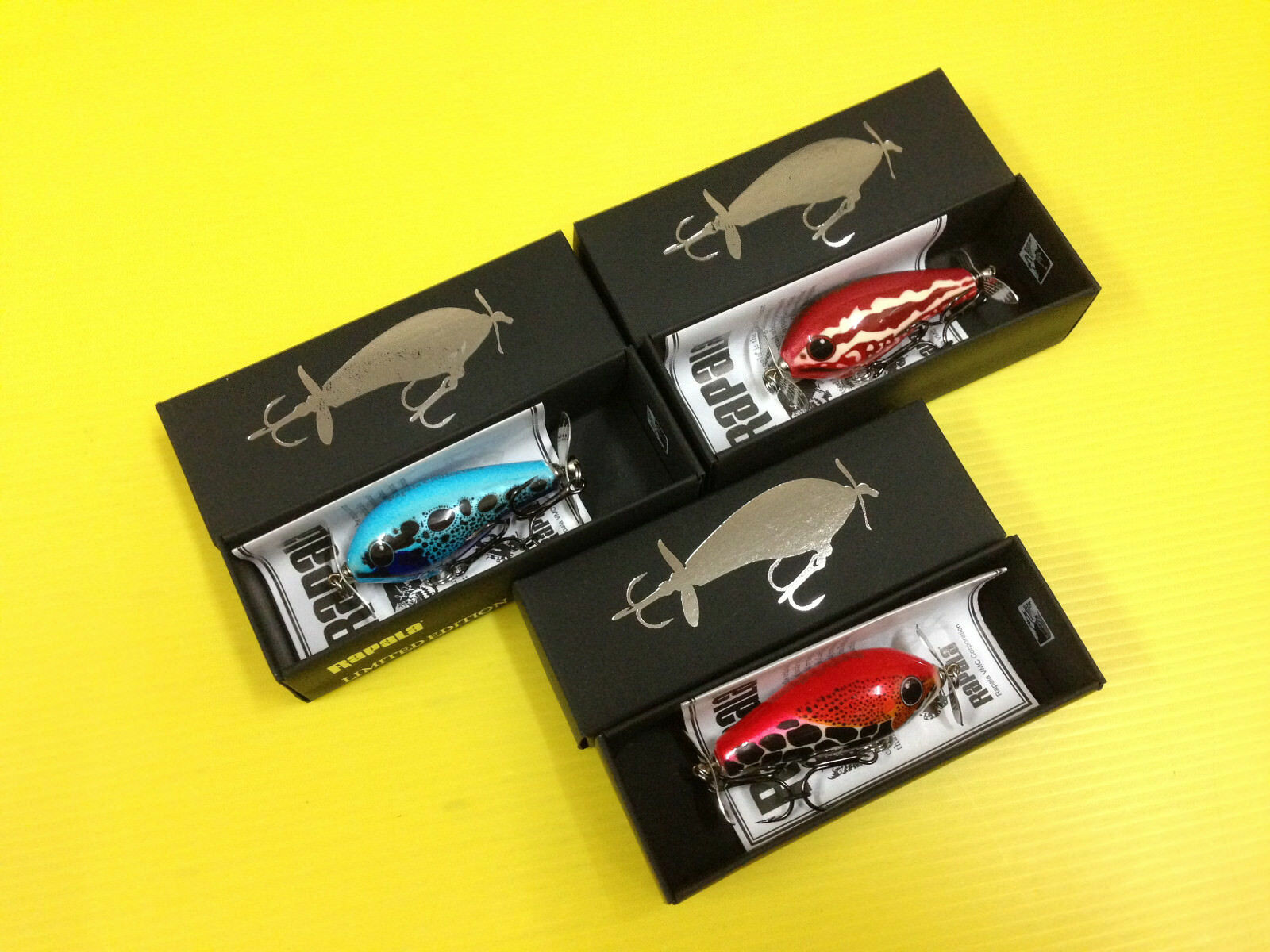 Lot of Three Rapala Fat Rap Prop 5 FRPR5 in 3 Colorees Lures, Limited Edition.