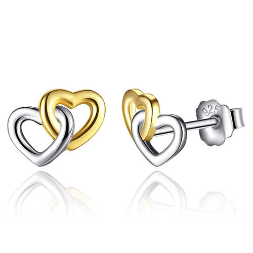 Entwined Stud Earrings Double Gold Hearts Two Tone Genuine Sterling Silver 925