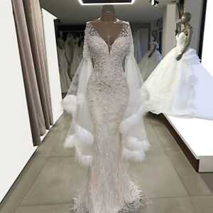 Details About White Ivory Feather Beaded Mermaid Wedding Dress V Neck Long Sleeve Bridal Gown