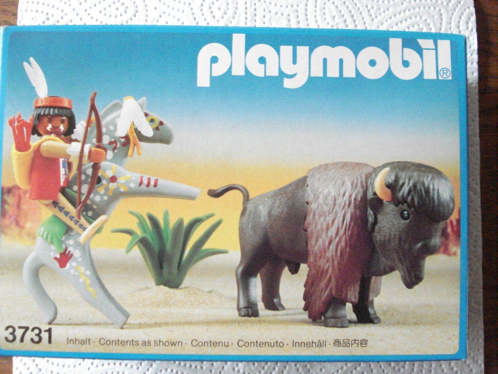Playmobil System Nr. 3731 Indianer mit Bison1988, Neu & OVP