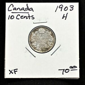 1903H-CANADA-10-CENTS-SILVER-COIN-HEATON-MINT-GEORGE-V-SCARCE-XF