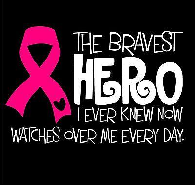 BREAST CANCER RIBBON SURVIVOR HERO PINK VINYL DECAL STICKER WALL LAPTOP CAR