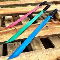 "3PC 27"" FULL TANG NINJA MACHETE KATANA SWORD ZOMBIE TACTICAL SURVIVAL KNIFE SET"