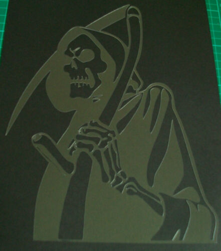 NEW S15 SKULLS ZOMBIES DEATH SKYTHE CAPE Airbrush Stencil Template Paint Craft