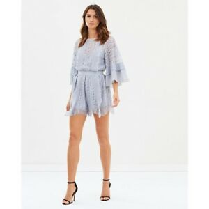 9f748f5fa4 Image is loading Stevie-May-Blue-Floral-Lace-Romper-Agnes-Playsuit-