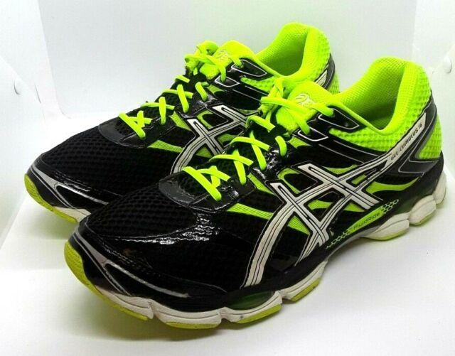 Mens Asics Gel Cumulus 16 Running Shoes Size 14 Black White Yellow Neon T439N