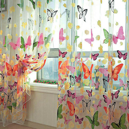1PC Floral Butterfly Curtains Sheers Voile Tulle Window Curtain 100x200cm